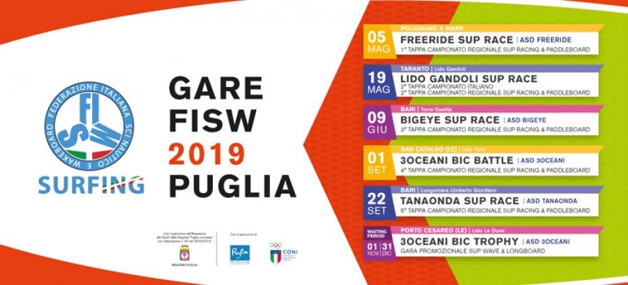 Calendario regionale SUP Racing & Paddleboard 2019 e gare FISW Puglia