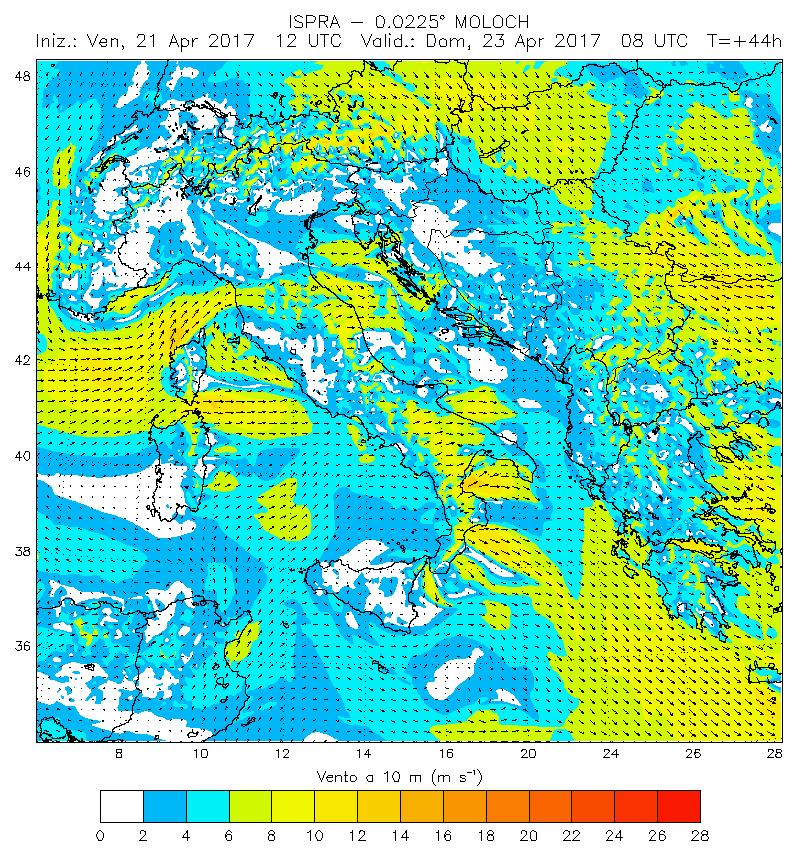 previsione vento per windsurf  23 aprile 17