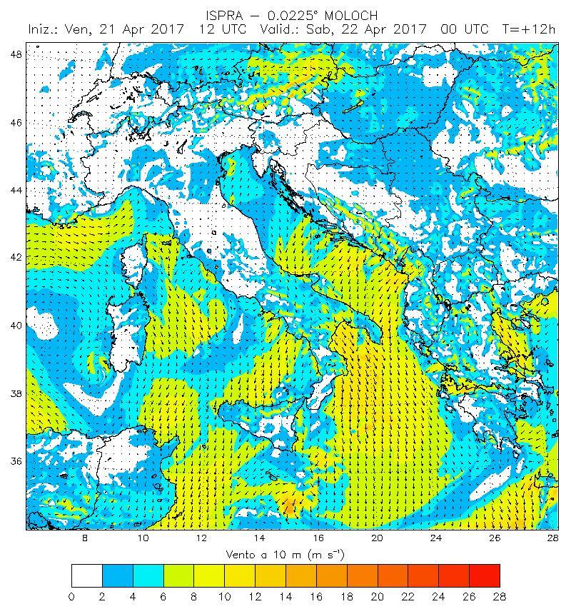 vento previsione per sabato 22 arpile 2017 - Praticare windsurf